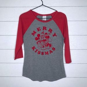 Disney Merry Kissmas Raglan T-Shirt Mickey Mouse